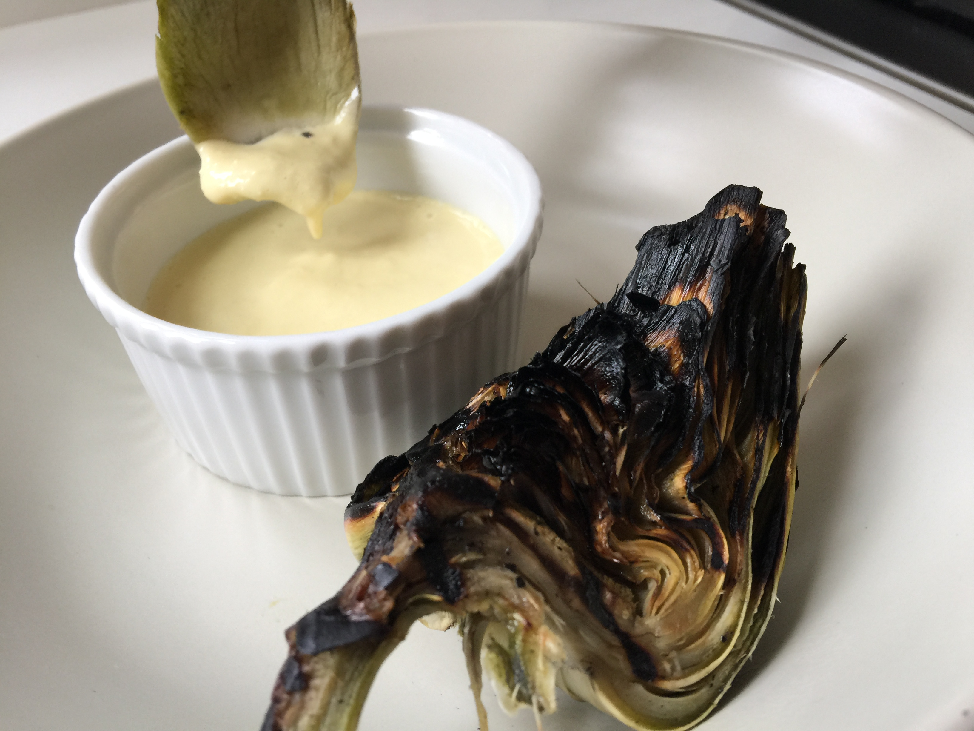 Grilled Artichokes with Green Garlic Dip - CookingCoOp.com