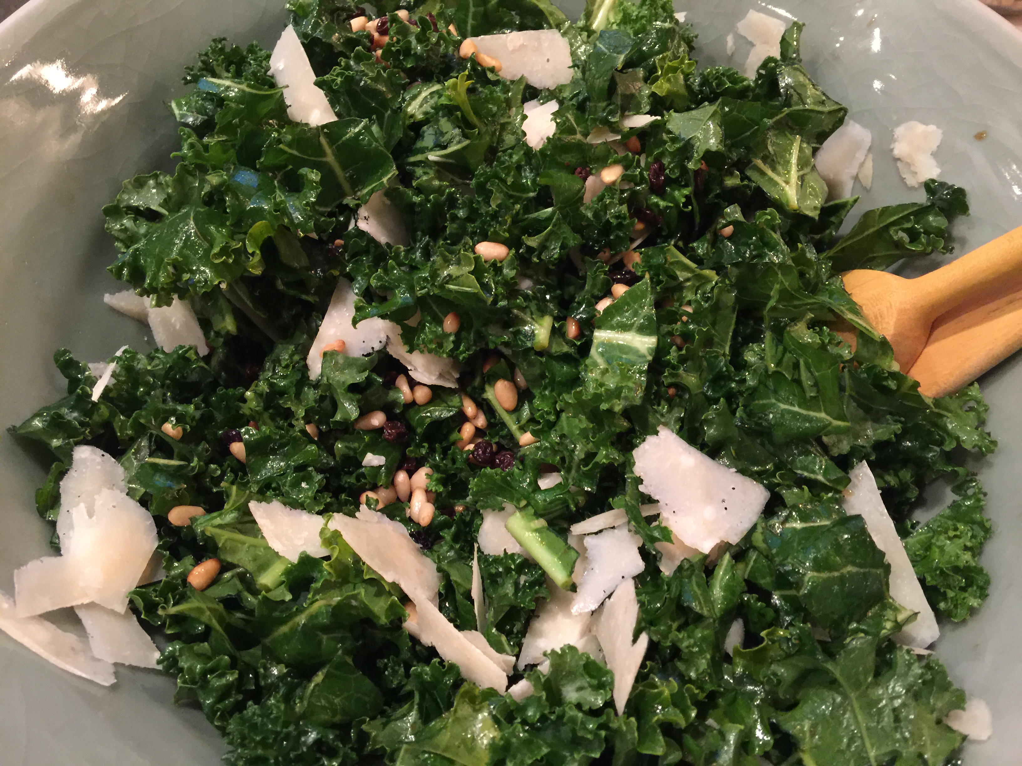 Kale Salad Pinenuts Currants Parmesan - CookingCoOp.com
