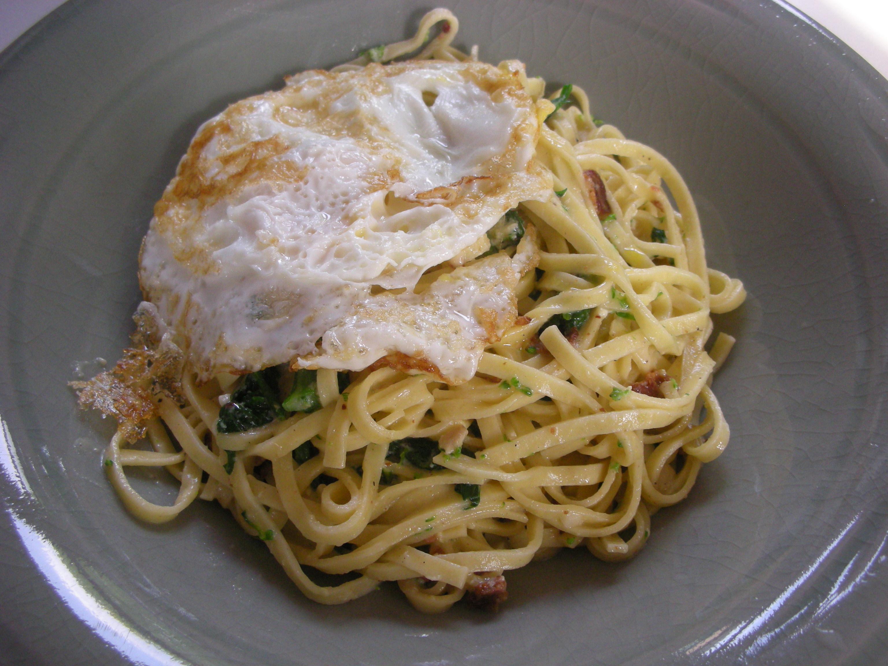Fettucine Carbonara with Rapini and Fried Eggs - CookingCoOp.com