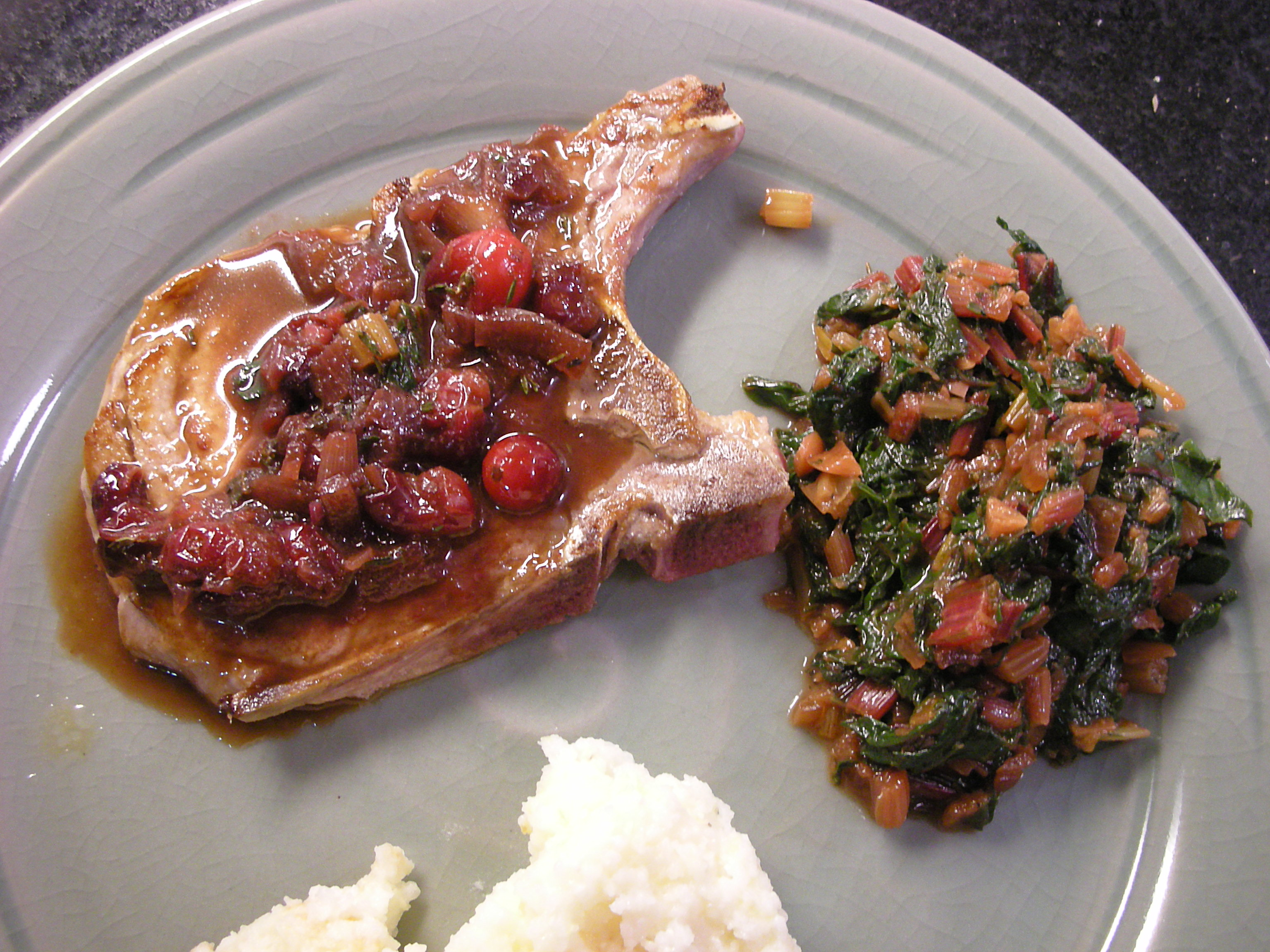 Pan Roasted Pork Chops with Cranberries and Red Swiss Chard - CookingCoOp.com